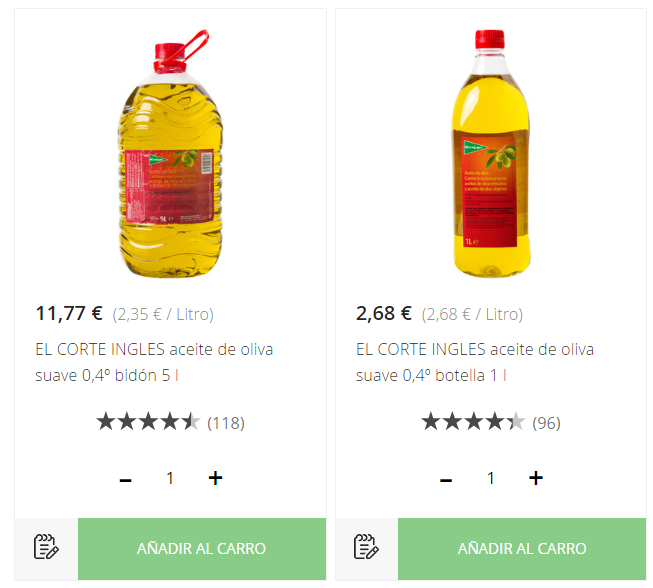 Aceite de oliva marca ECI