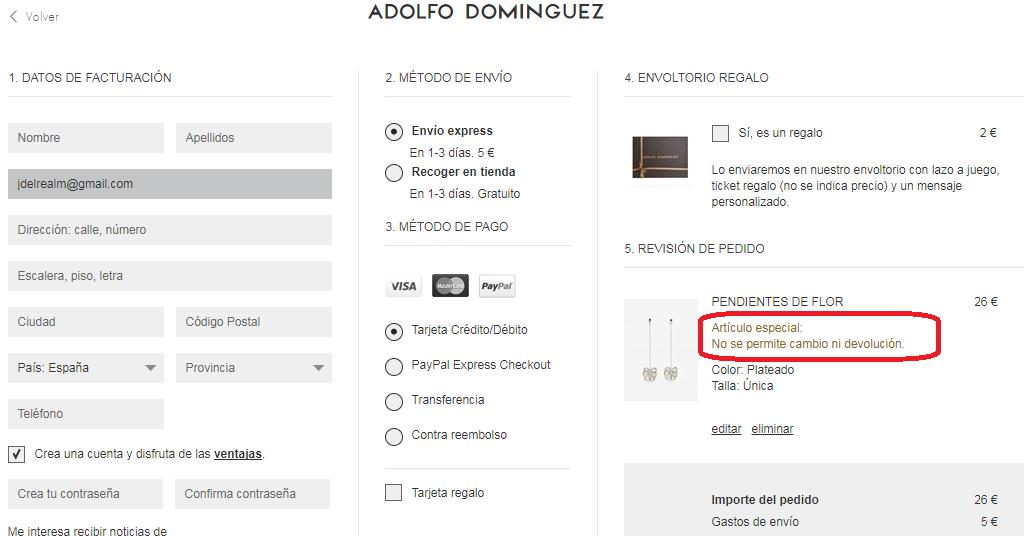 Adolfo Domínguez tienda online checkout