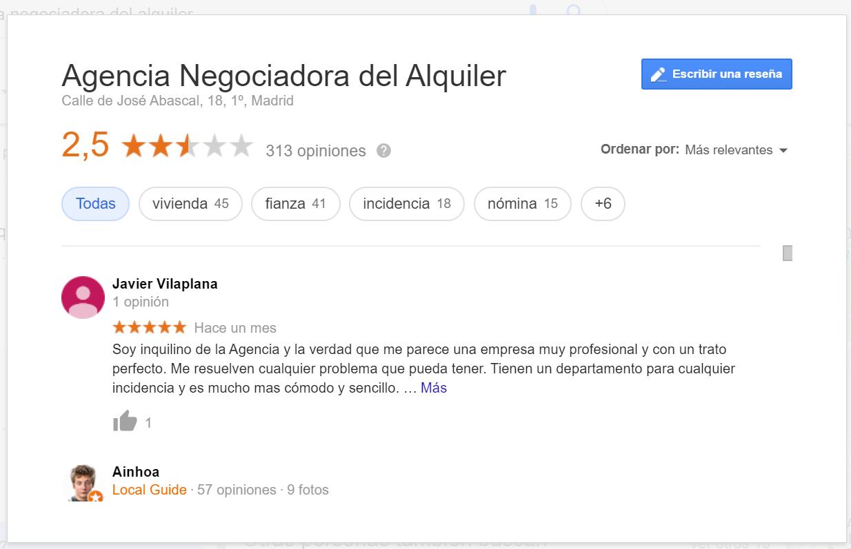 Agencia Negociadora del Alquiler Opiniones