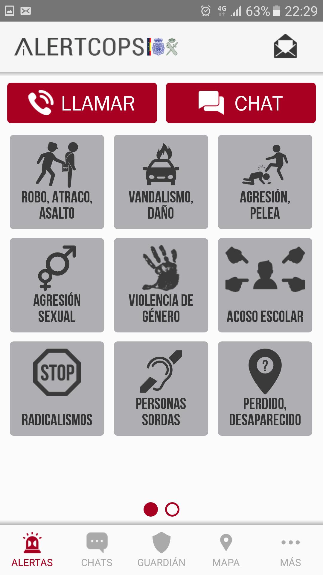 Alertcops Menú