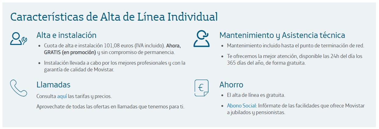 Alta de Línea Individual Telefónica de España 2020