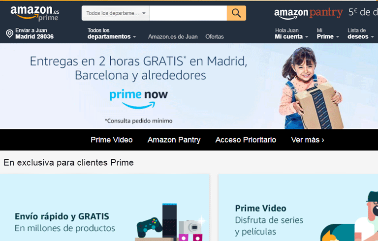 Amazon Prime plazos de entrega 2 horas