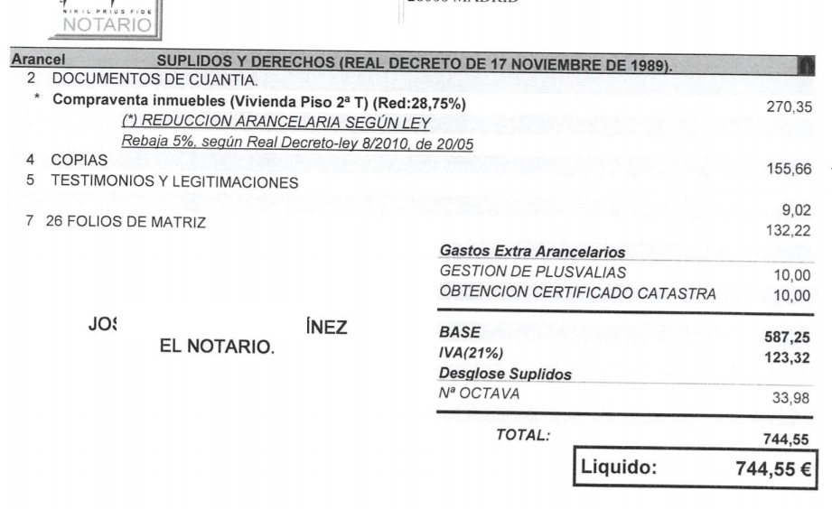 Aranceles notariales compraventa vivienda