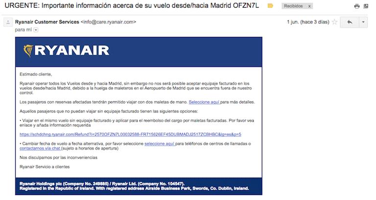 Aviso Ryanair vuelo sin maletas en Madrid junio 2015