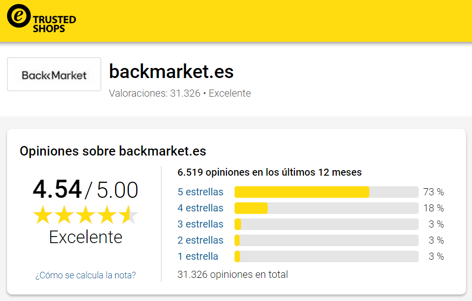 Back Market opiniones trusted shops
