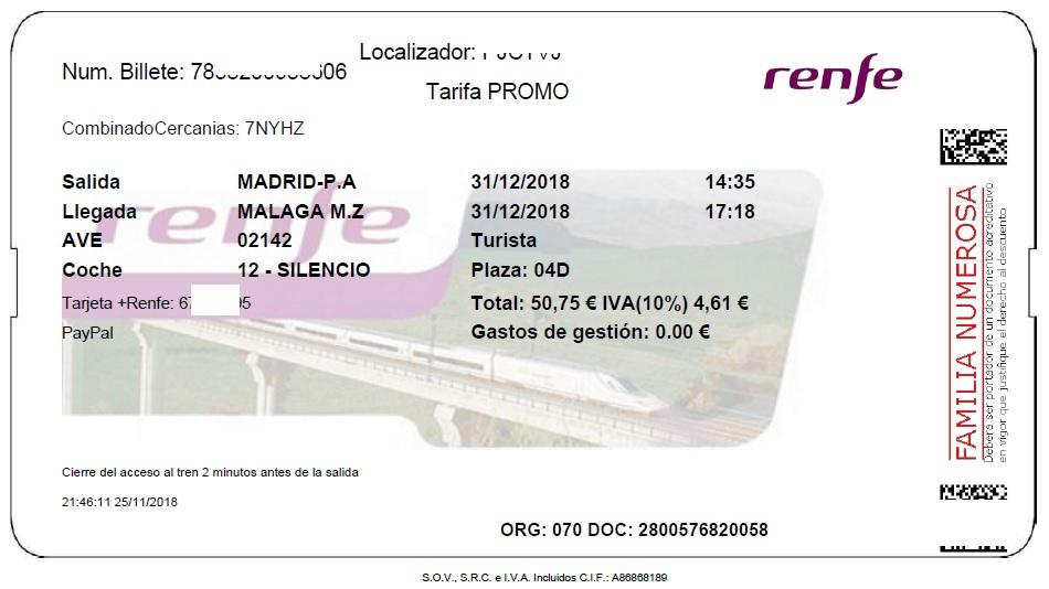 Billete AVE Madrid Málaga