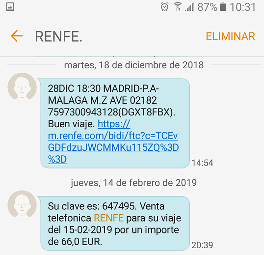 Billete de ten RENFE por SMS