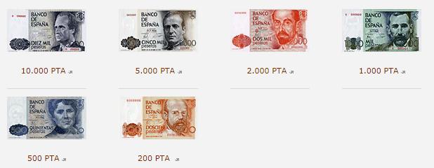 Billetes de pesetas admitidos por el Banco de España