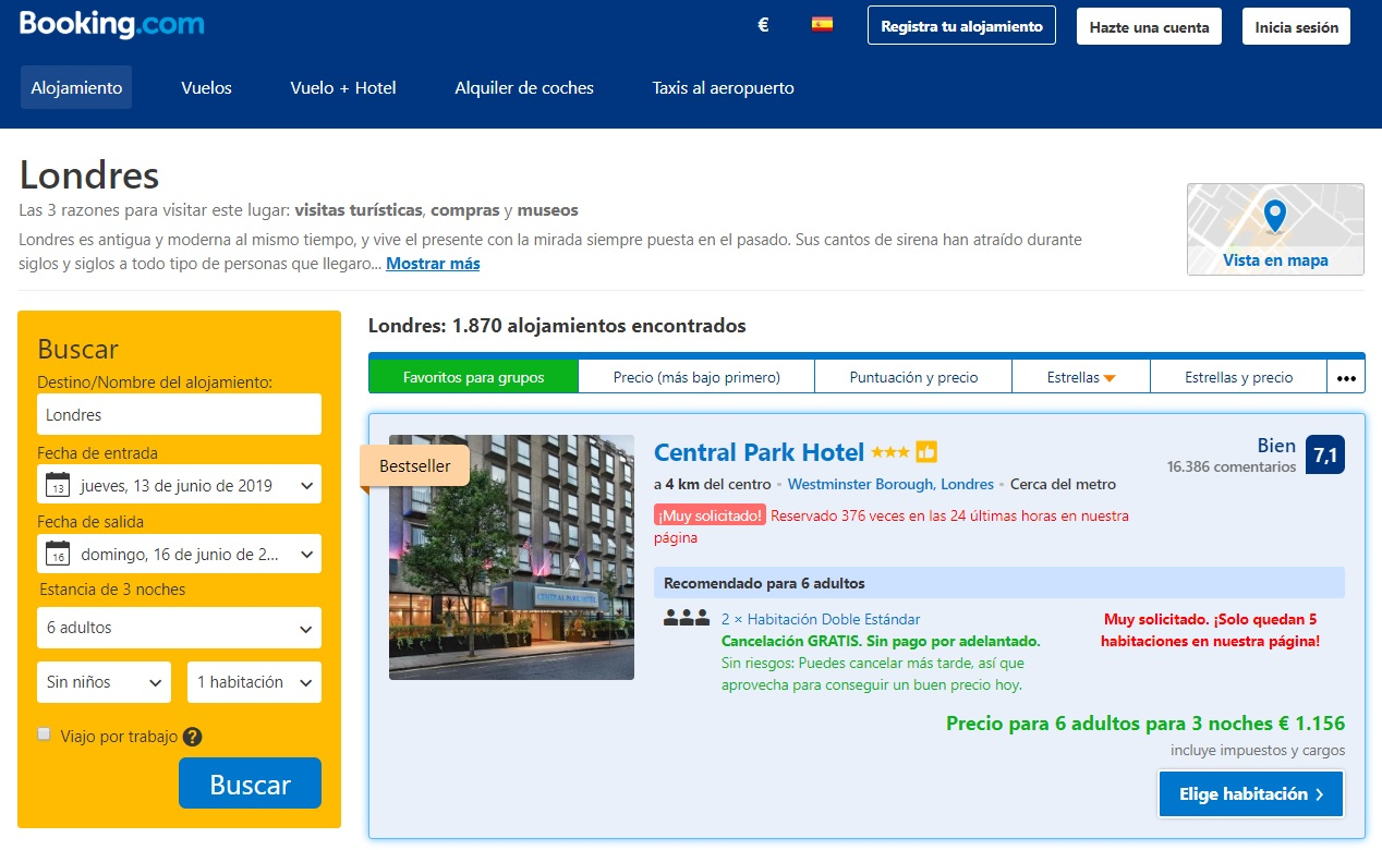 Booking reserva hotel londres 2019
