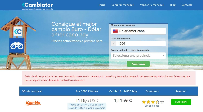 Cambiator mejor precio 1000 EUR a USD a 11 de julio de 2019