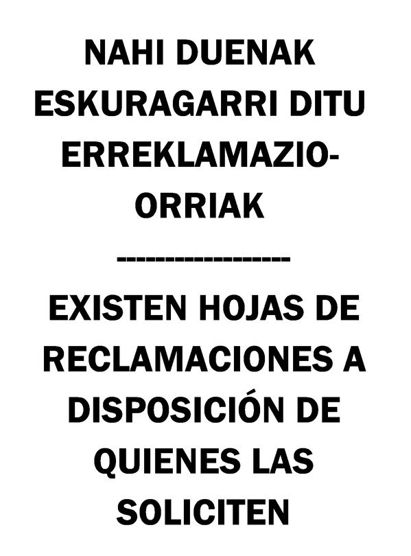Cartel hojas de reclamaciones País Vasco