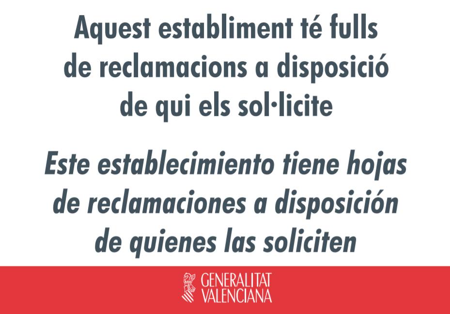 Cartel informativo Hojas de Reclamaciones Comunidad Valenciana