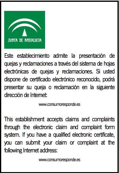 Cartel tenencia hojas de reclamaciones Andalucía