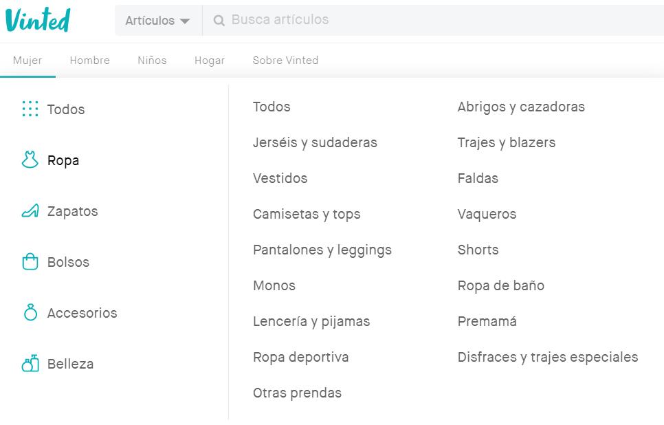 Categorías Vinted