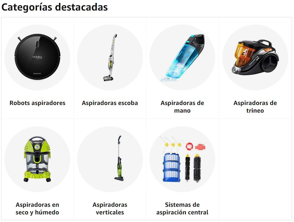 Categorías de aspiradoras Amazon