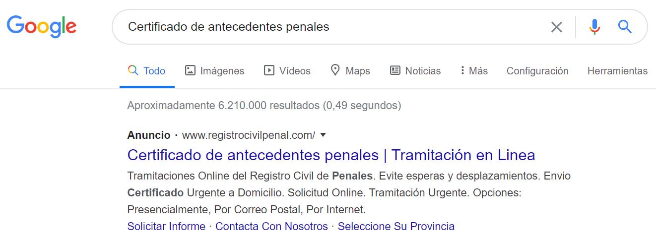 Certificado de antecedentes penales Google 2020