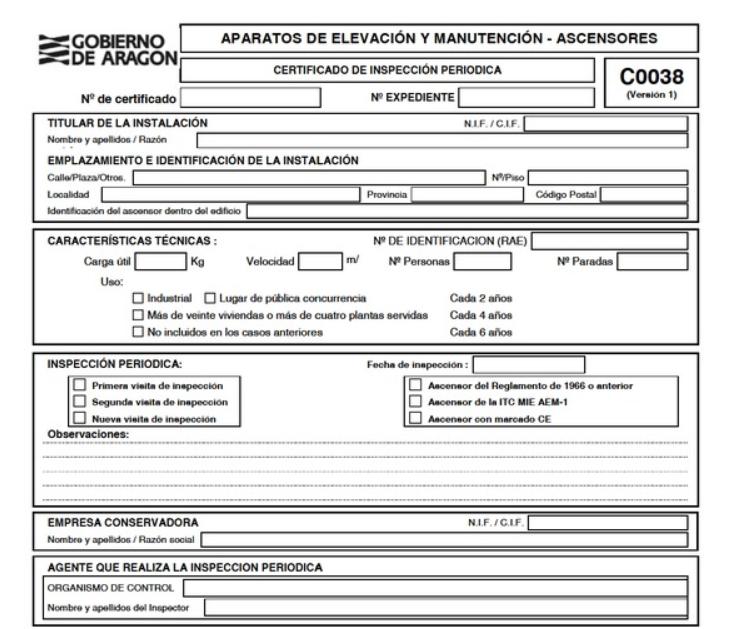 Certificado de inspección periódica de ascensores en Aragón