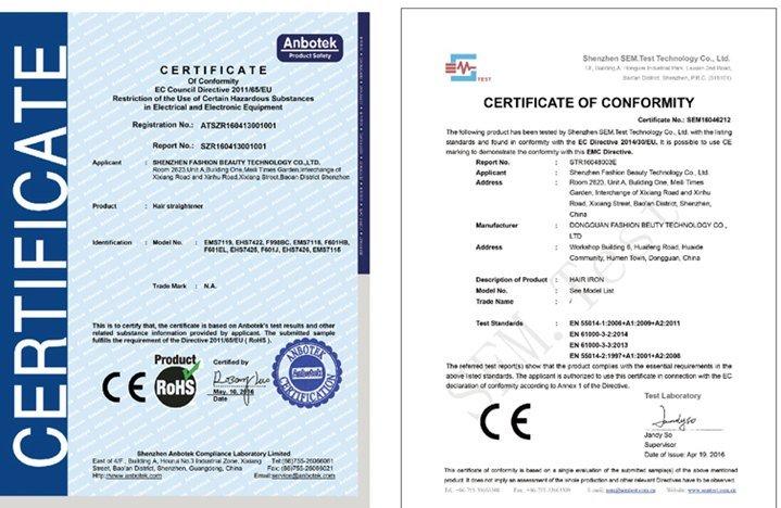 Certificados de conformidad de un fabricante chino de planchas de pelo