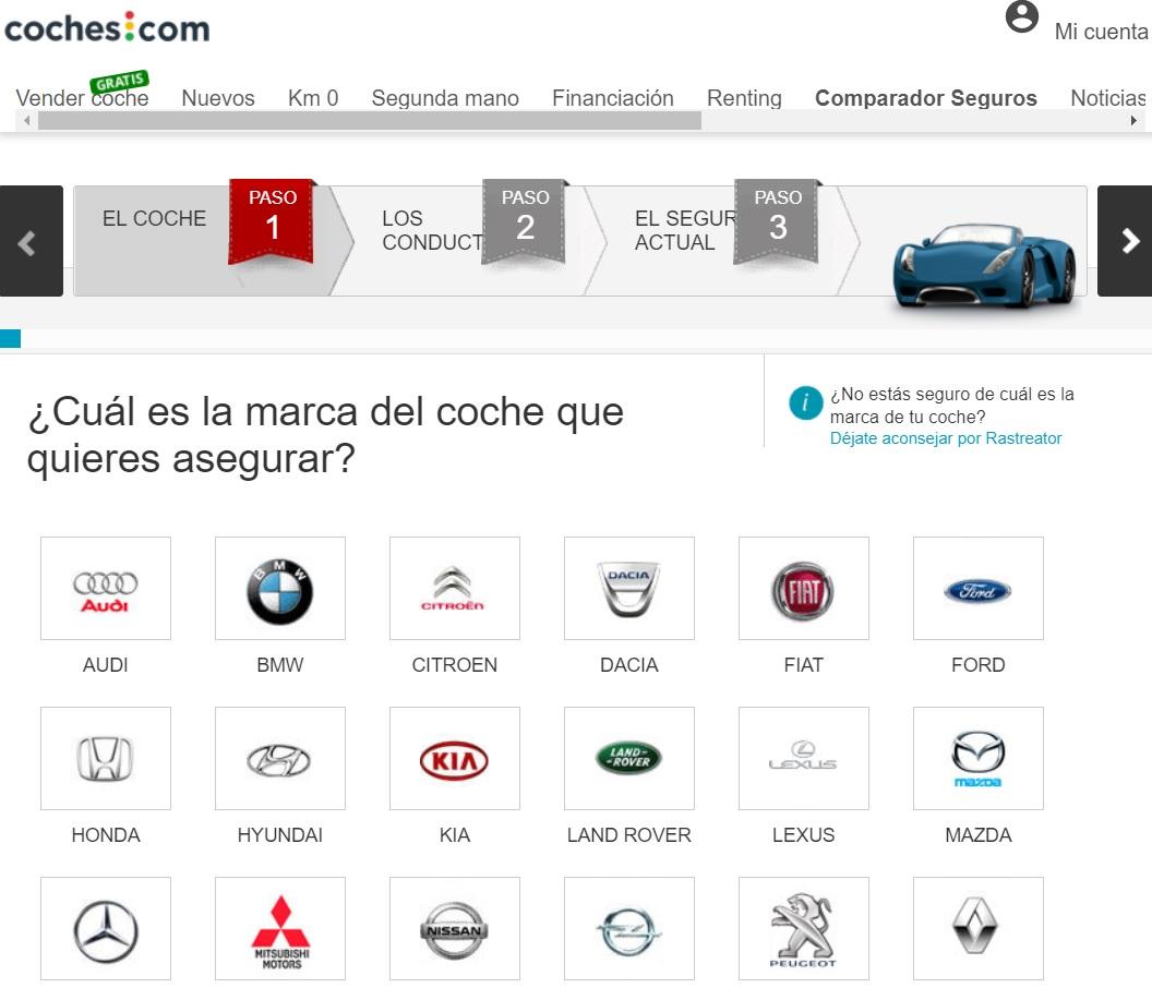 Comparador de seguros de Coches.com Seleccion de marca y modelo