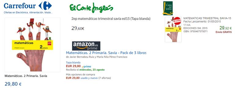 Comparativa libros de texto ECI, Carrefour, Amazon, Casa del Libro