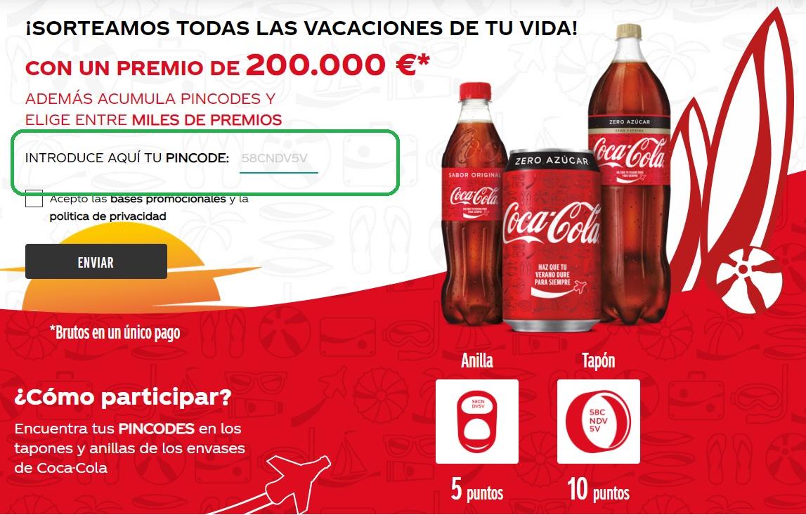 Dónde meter el pincode de Coca-Cola