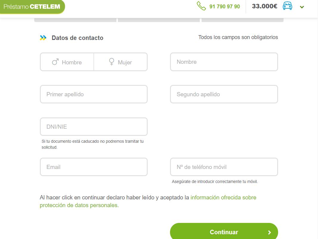 Datos de contacto Cetelem