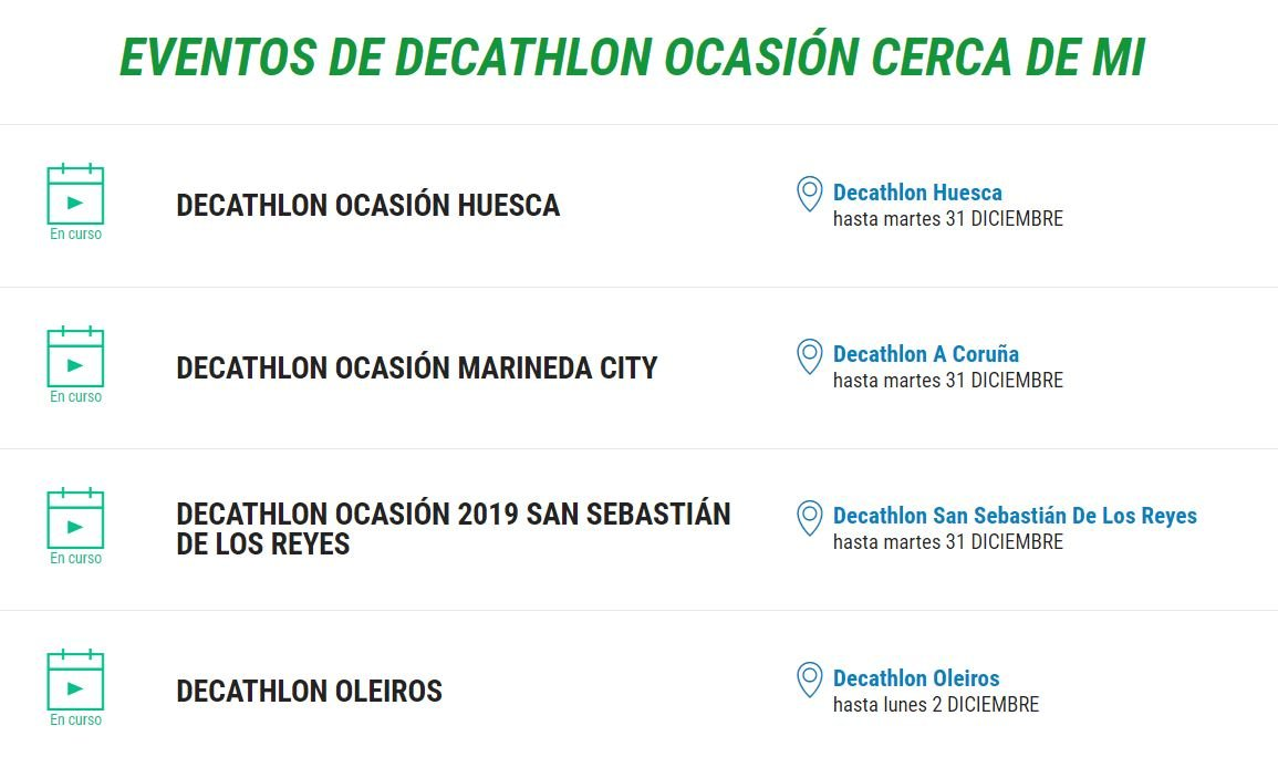 Decathlon Ocasion en tiendas Dectahlon