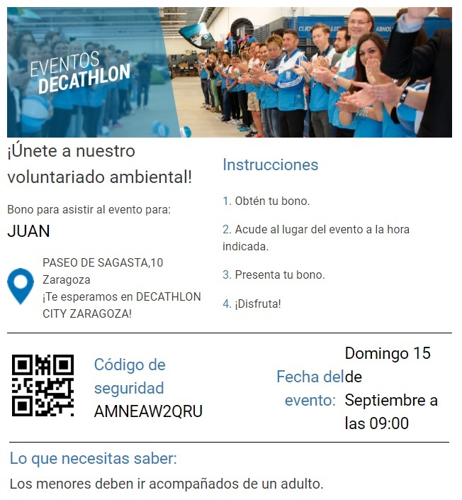 Decathlon mail confirmación