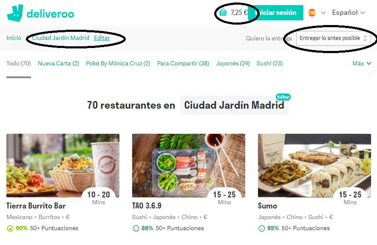 Deliveroo 70 restaurantes en Madrid Ciudad Jardín