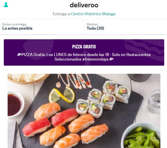 Deliveroo promo pizzas Málaga
