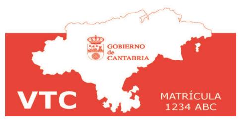 Distintivo VTC trasero Cantabria
