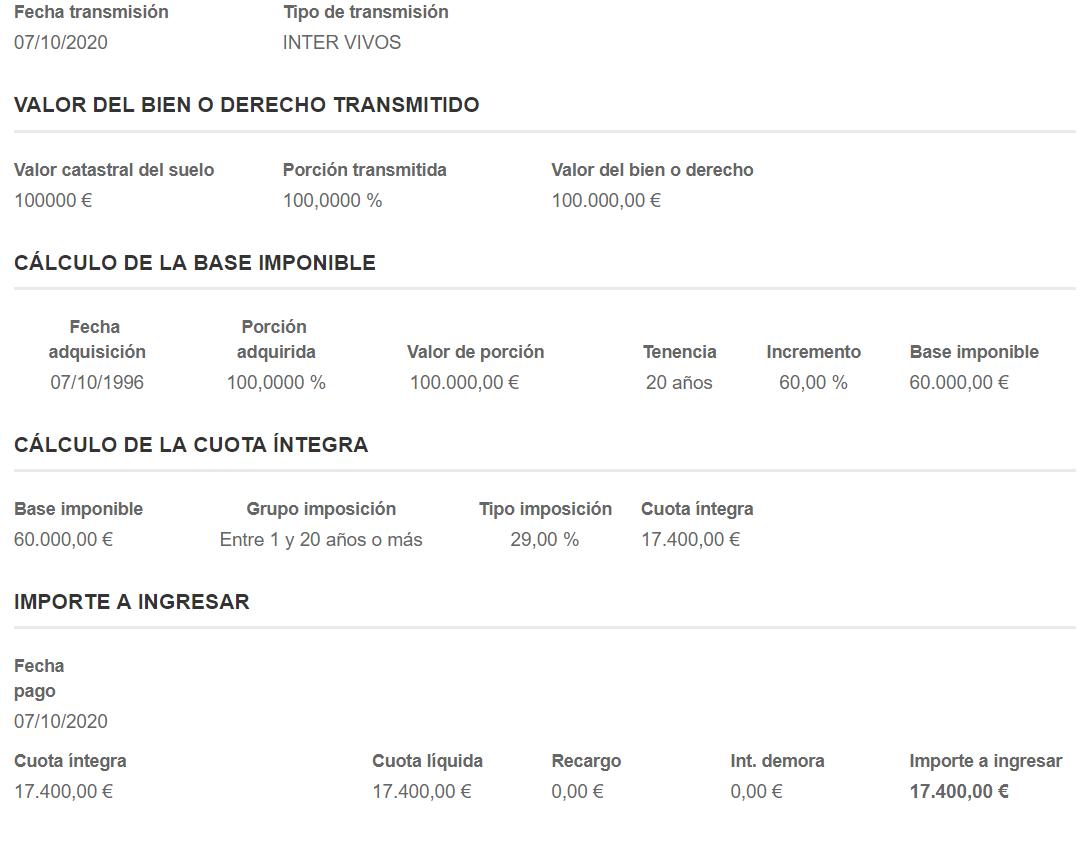 Ejemplo cálculo plusvalía municipal ayto de Madrid