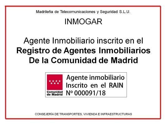 Ejemplo de sello de inscripción en el RAIN de Madrid