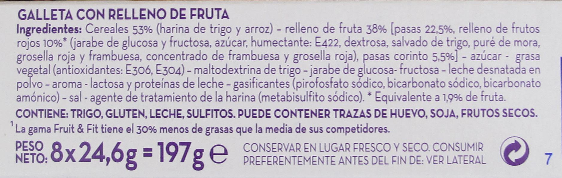 Etiqueta aditivos galletas rellenas