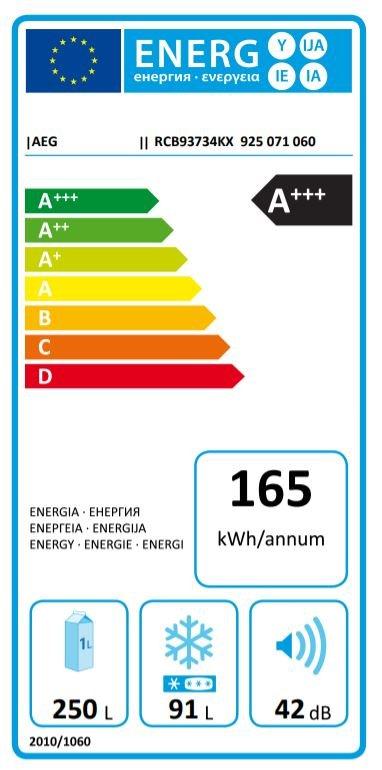 Etiqueta energética de frigorífico AEG de bajo consumo A+++