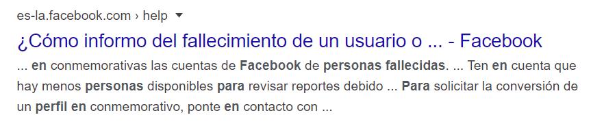 Facebook informar de usuario fallecido