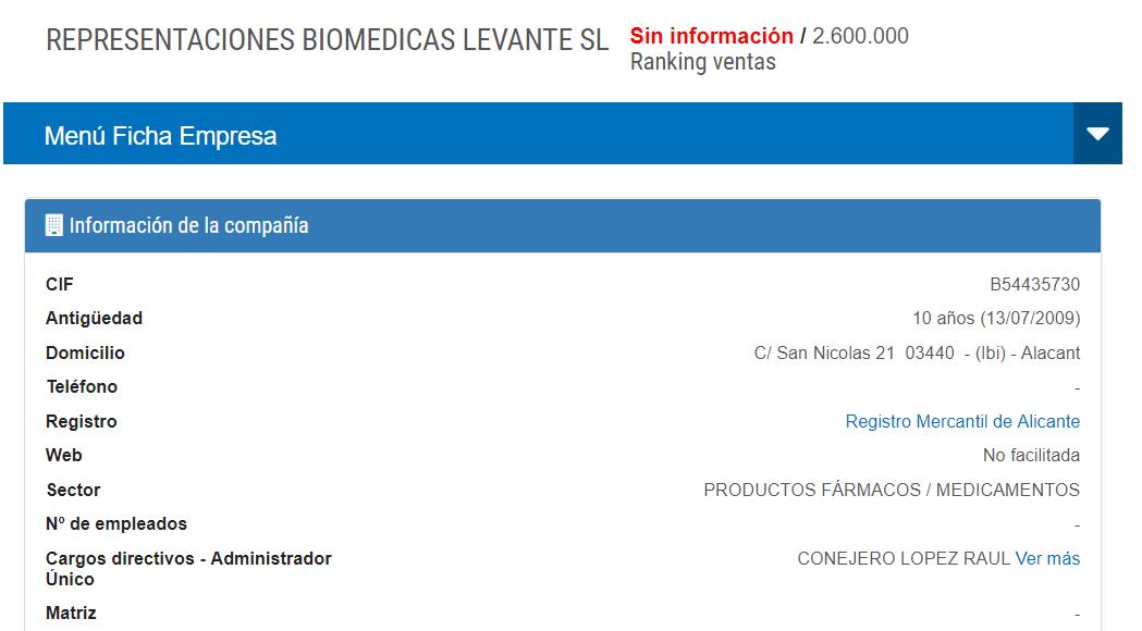 Ficha de Representaciones Biomédicas Levante, S.L. (Infocif)