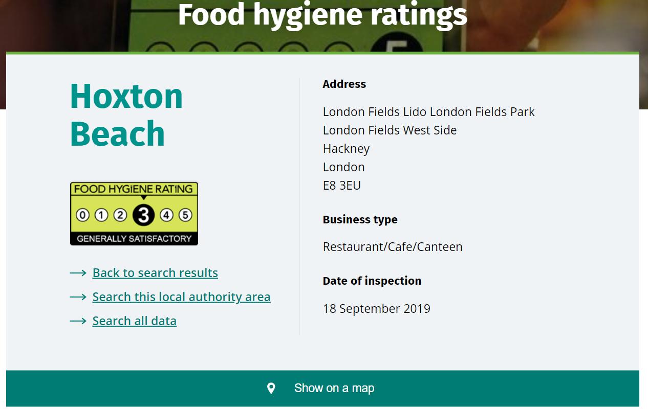 Ficha de higiene del restaurante Hoxton Beach en Londres