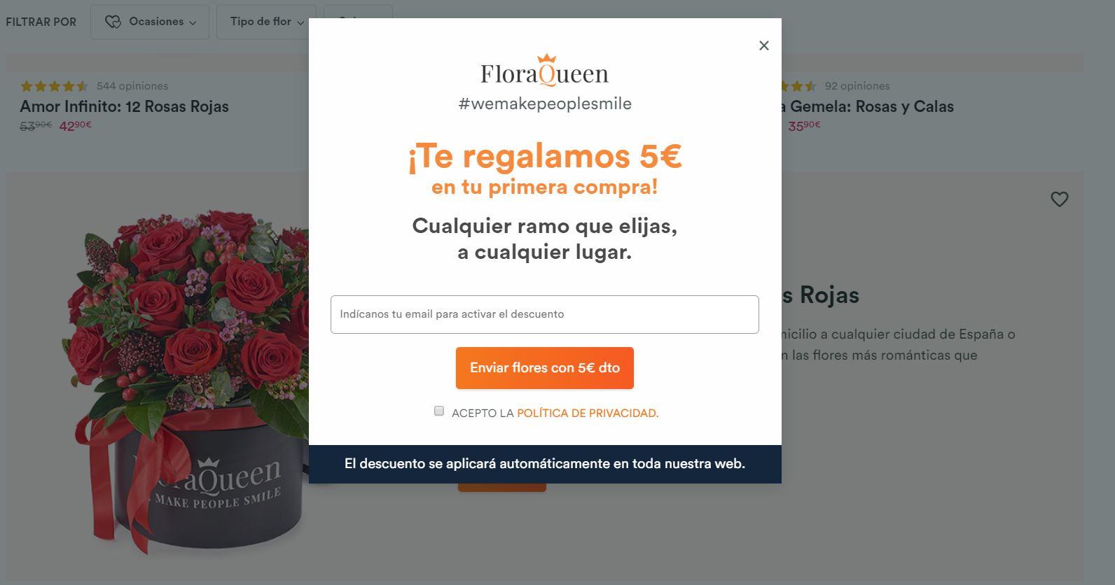 FloraQueen te regala 5 euros en tu primer pedido. Y por San Valentín, portes gratis