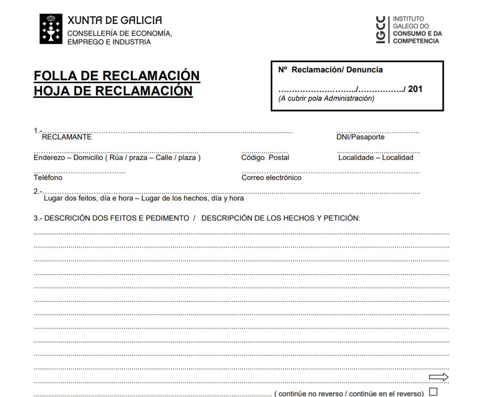 Folla de reclamación hoja de reclamación Galicia IGCC