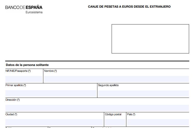 Formulario de canje de pesetas a euros Banco de España