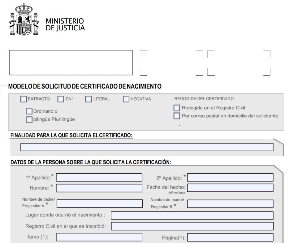 Formulario solicitud certificado nacimiento Registro Civil