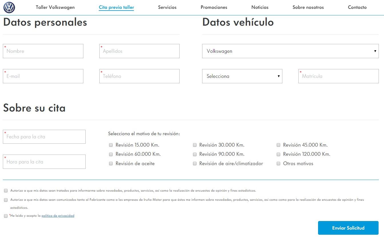 Formulario web cita previa Volkswagen Iruña Motor