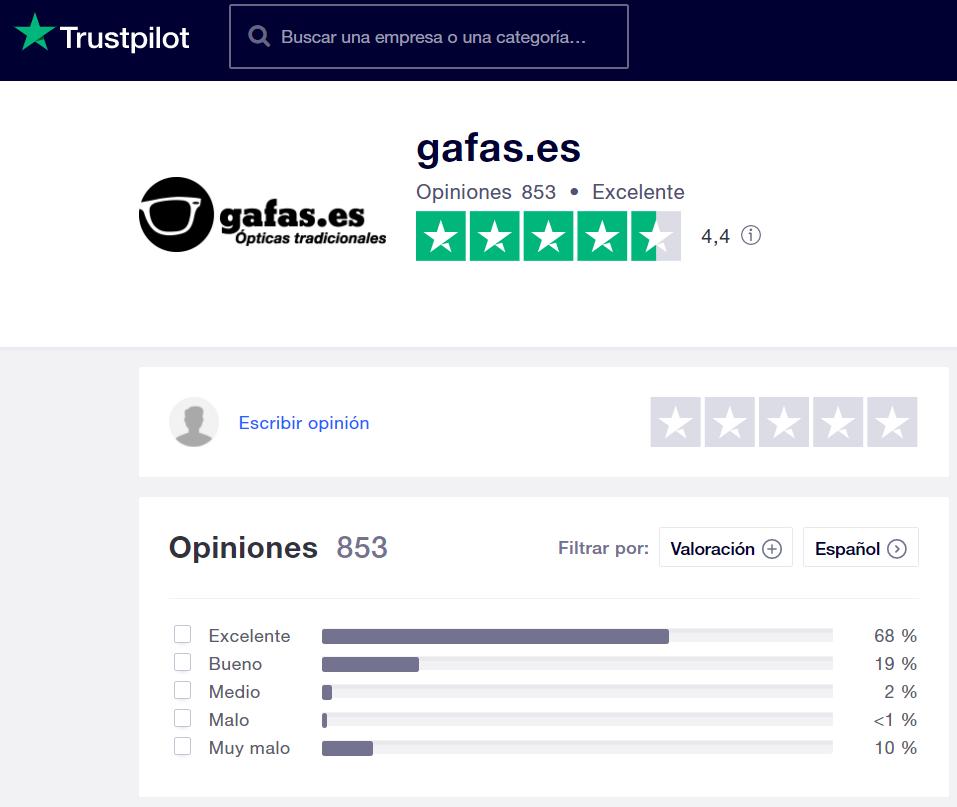 Gafas es opiniones Trustpilot