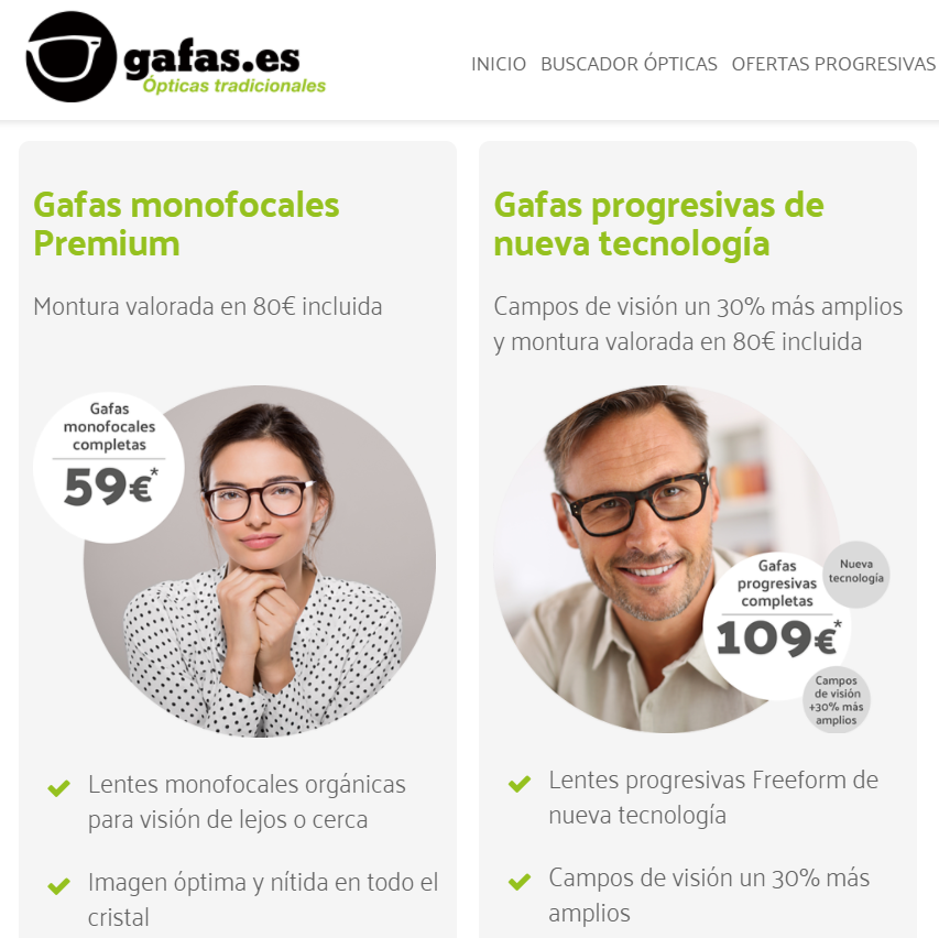 Gafas es página web
