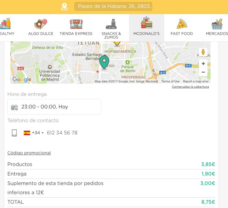 GlovoApp McDonald´s coste envio