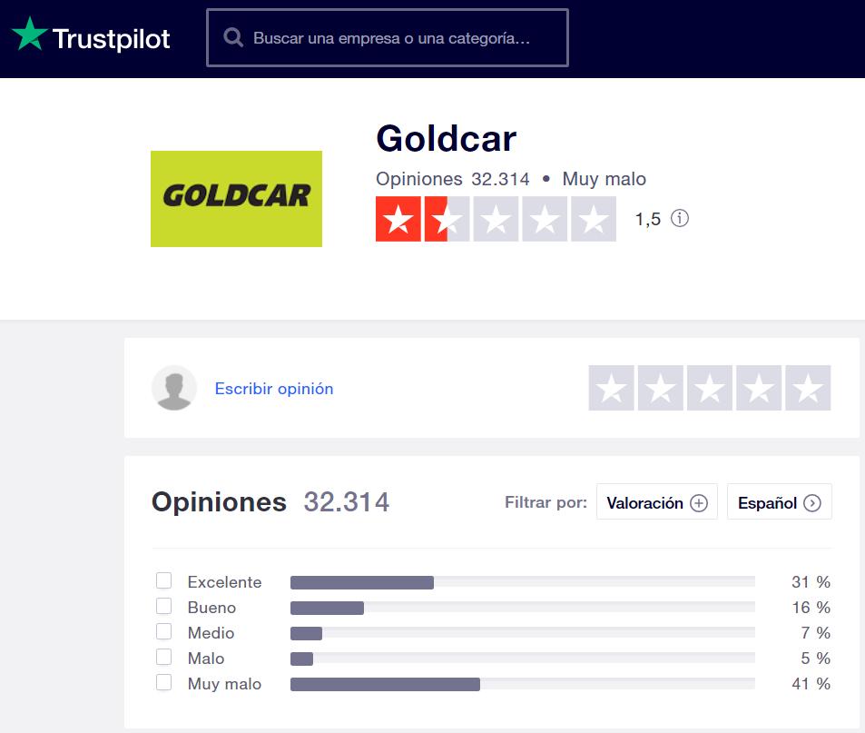 Goldcar opiniones Trustpilot
