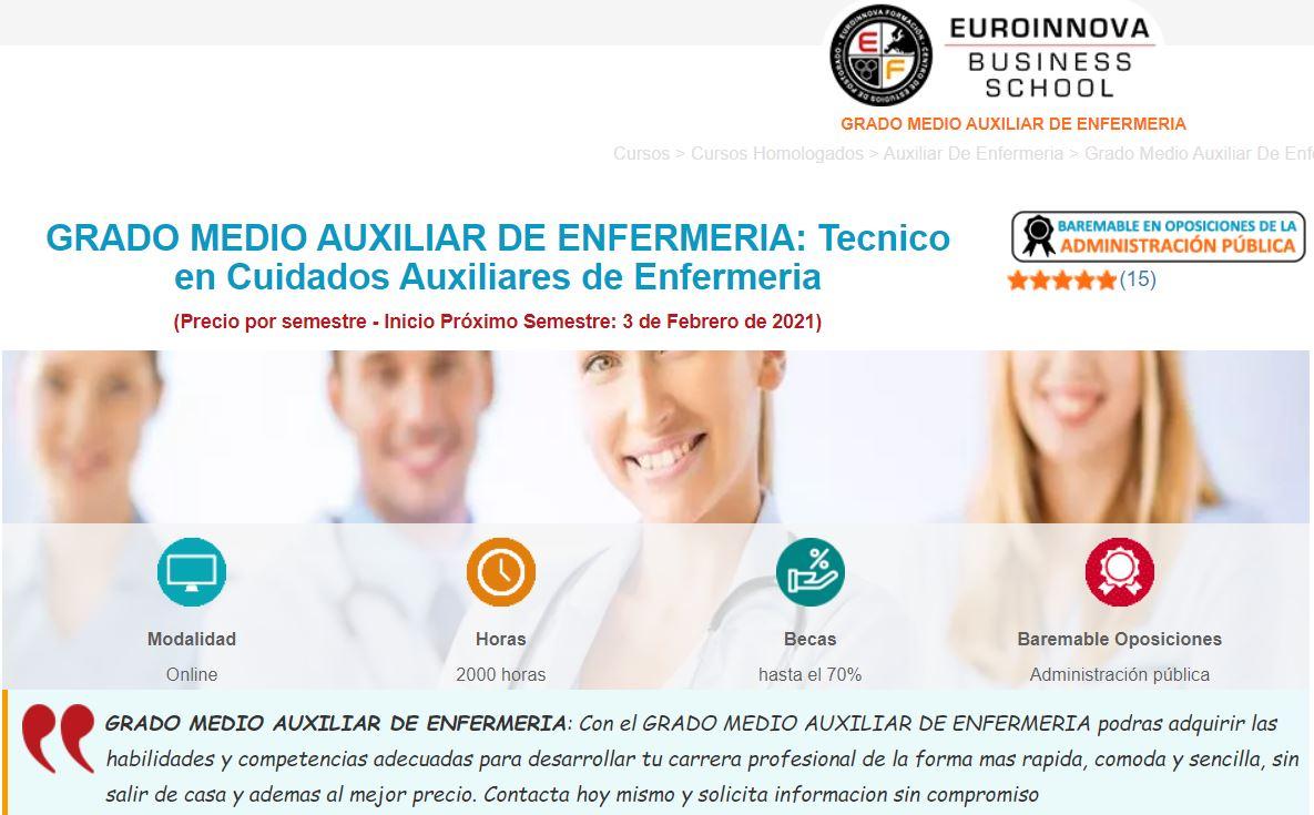 Grado medio auxiliar de enfermería Euroinnova