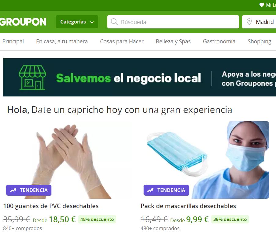 Groupon vendiendo guantes y mascarillas en tiempos de coronavirus