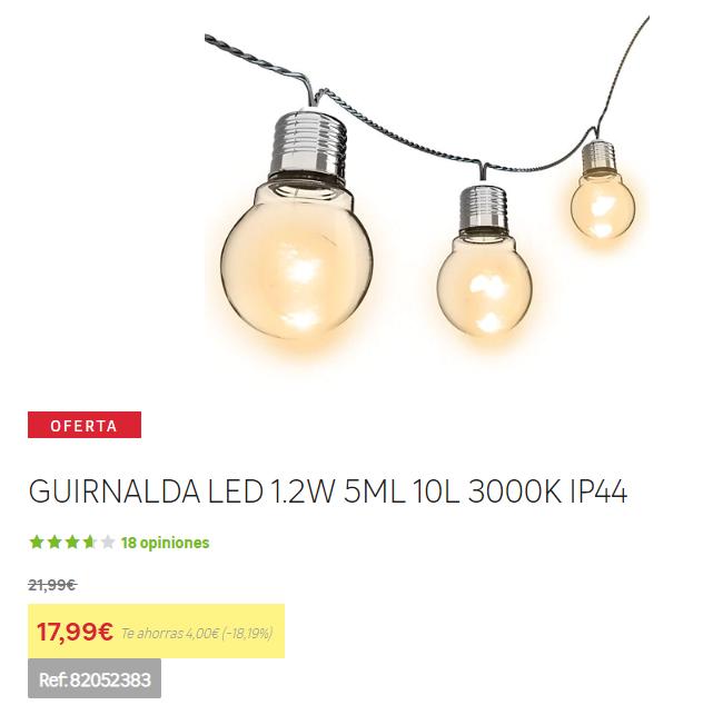 Guirnalda LED Leroy Merlín IP44